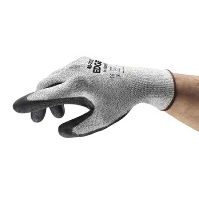 Ansell EDGE Grey & Black Polyurethane & Spandex Industrial Hand Gloves, Size: 9, 48-701