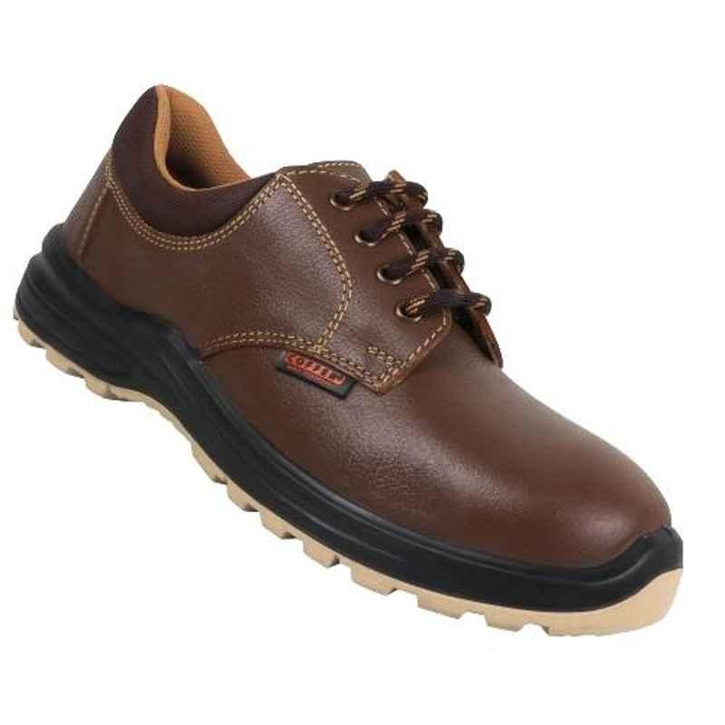 Coffer Safety M1046 Leather Steel Toe Tan Safety Shoes, 82344, Size: 8