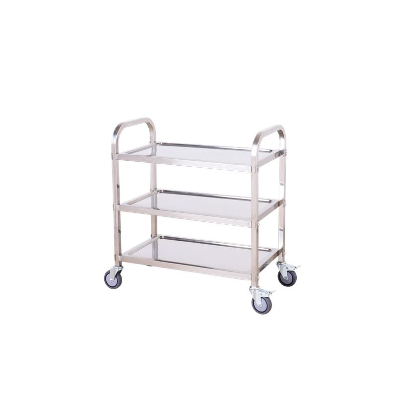 Bigapple 100kg Stainless Steel Silver Triple Platform Service Cart Trolley, TRL-SPH-SC-STEEL-MEDIUM-BLACK