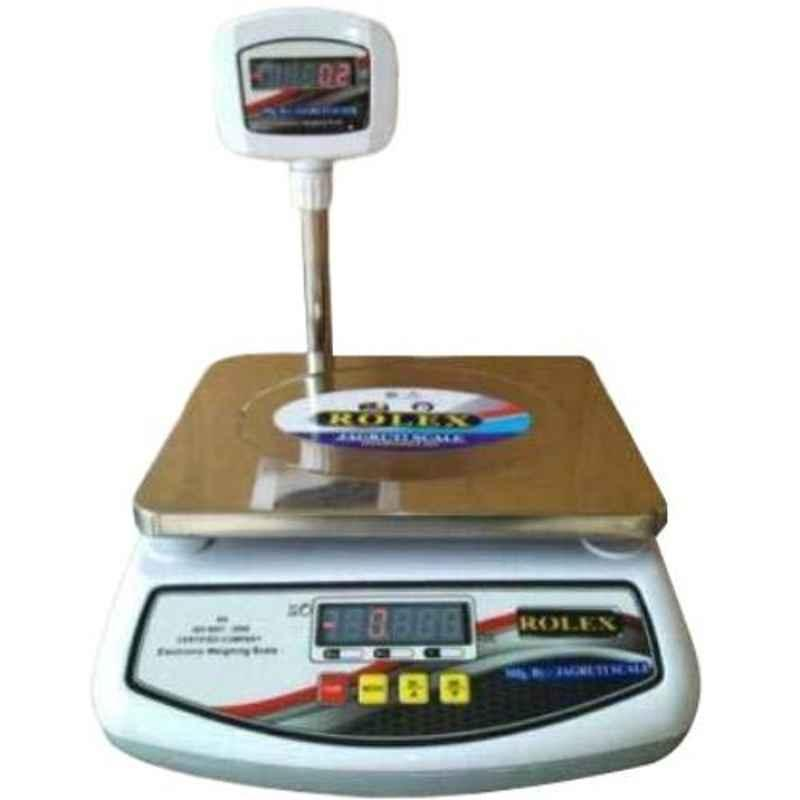Rolex 30kg 30x35x25cm Fibre White Table Top Weighing Scale with Poll Display