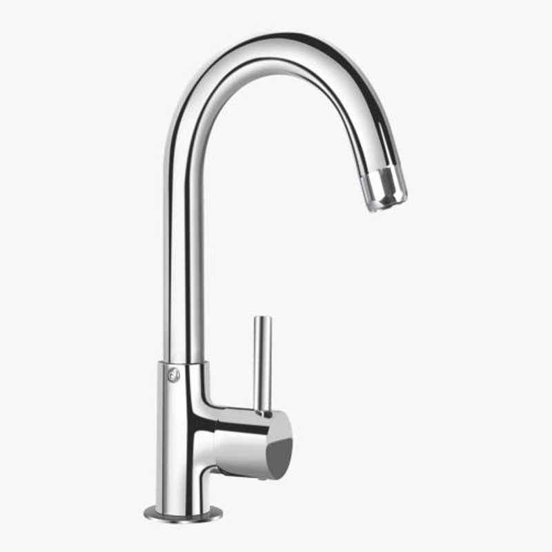 Kerovit Nucleus Silver Chrome Finish Deck Mounted Sink Cock with Swivel Spout, KB111028