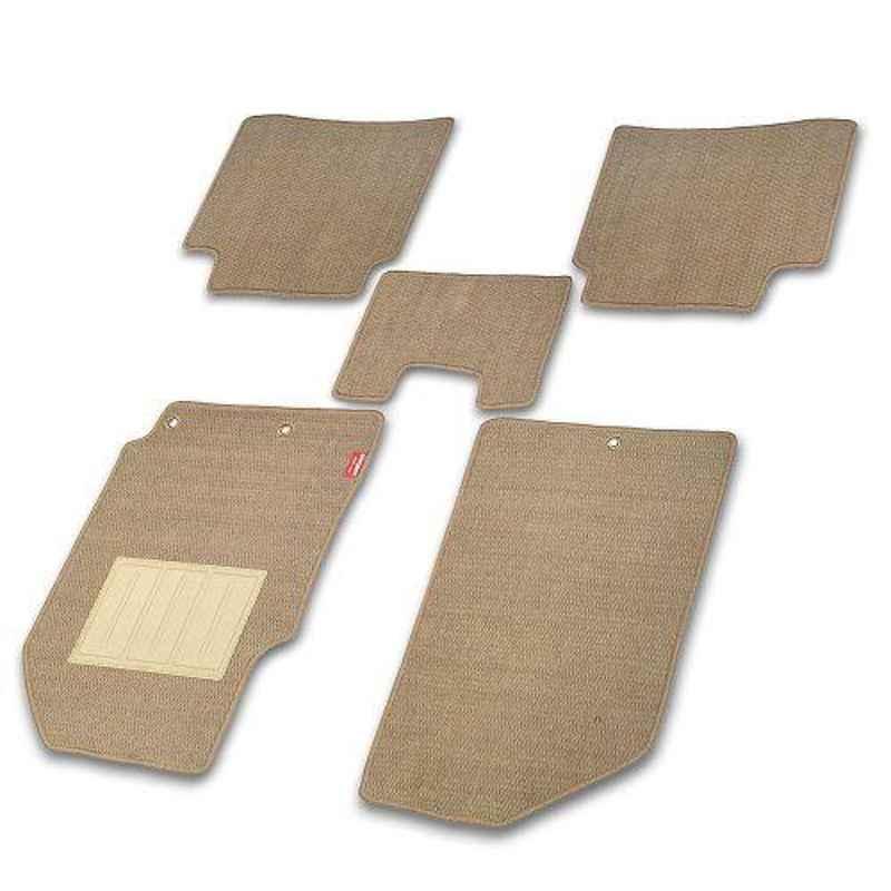 Elegant Popcorn 5 Pcs Polypropylene Beige 2D Car Floor Mat Set for Hyundai i10