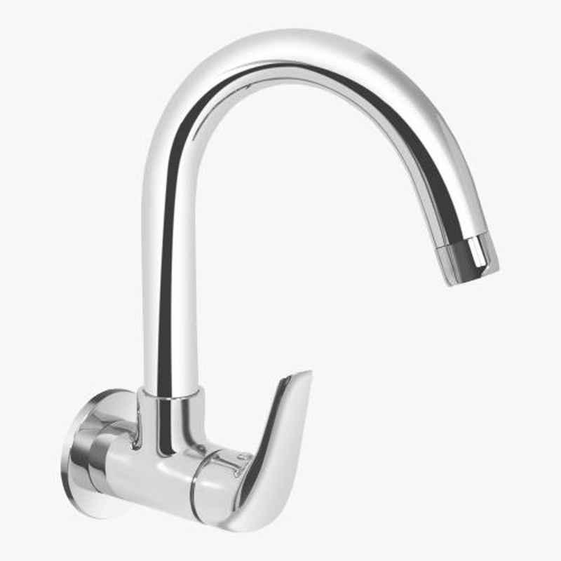 Kerovit Slope Silver Chrome Finish Wall Mounted Sink Cock with Swivel Spout & Flange, KB1311025