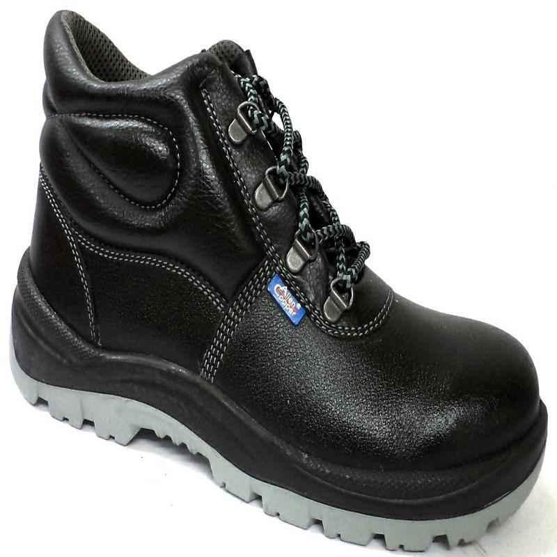 Allen Cooper AC 1008 Antistatic Steel Toe Black & Grey Safety Shoes, Size: 9