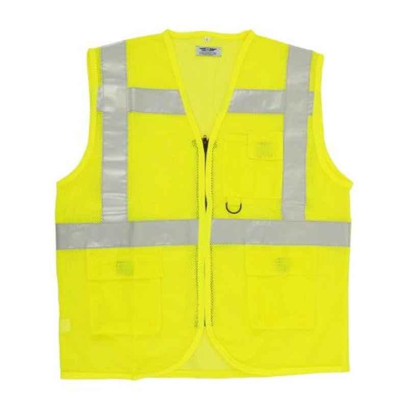 Club Twenty One Workwear Medium Yellow Polyester Safety Jacket with 2 inch Reflective Extra Tape
