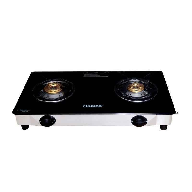 Macizo Aspro 2 Burner Manual Ignition Black Glass Gas Stove