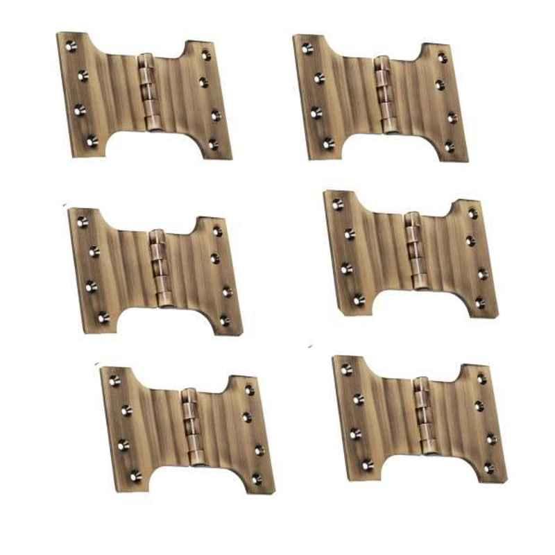 Smart Shophar 4x3x3 inch Brass Antique Parliament Hinge, SHA10HG-PARL-AN4X3X3-P6 (Pack of 6)