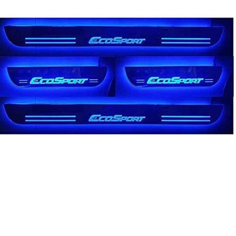 Carxen 4 Pcs Blue Car Accessories Door Foot Step LED Sill Plate for Ford Ecosport