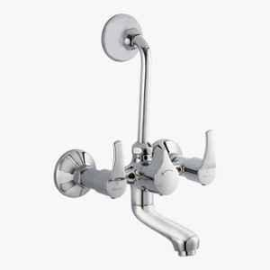 Kerovit Infinit Silver Chrome Finish Wall Mixer 2 In 1 with Flanges, KB2011019
