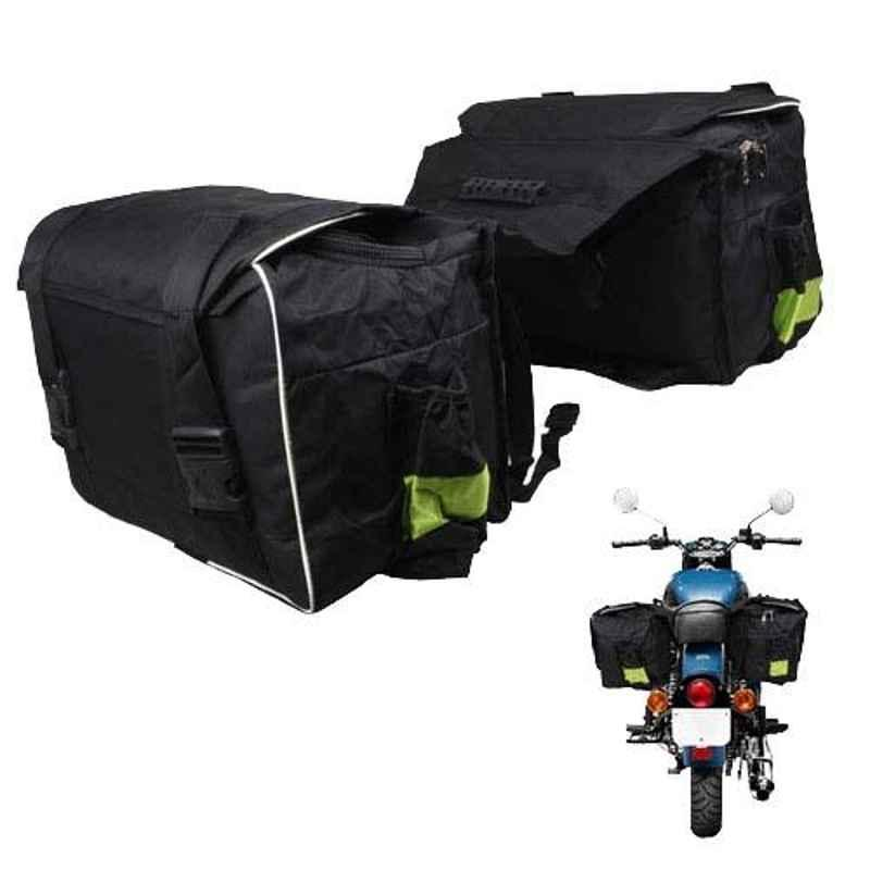AllExtreme Black & White Two Wheeler Hanging Waterproof Double Saddle Pannier Bag