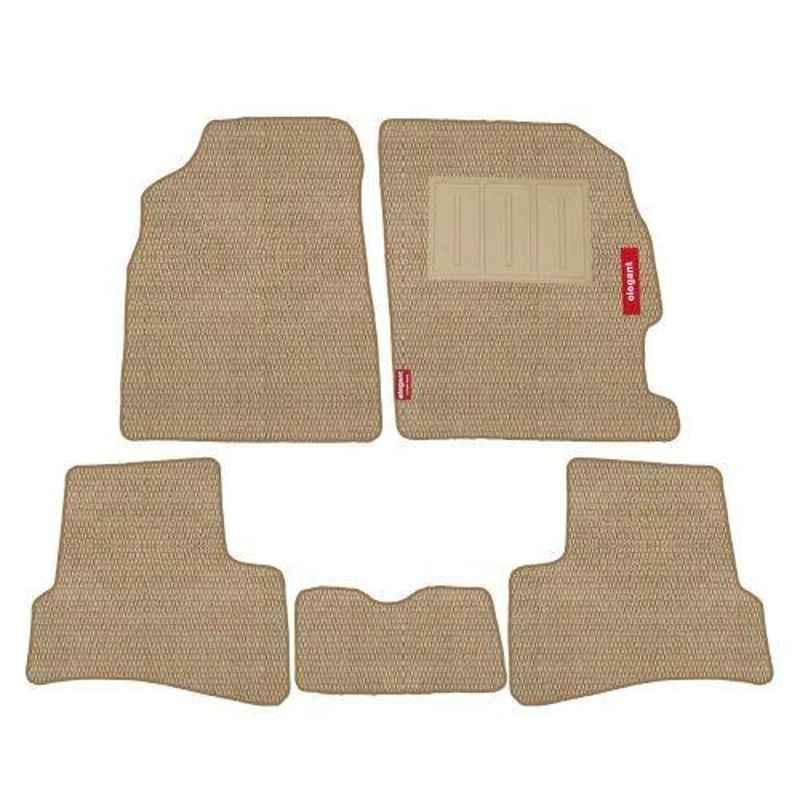Elegant Popcorn 5 Pcs Polypropylene Beige 2D Car Floor Mat Set for Honda Brio
