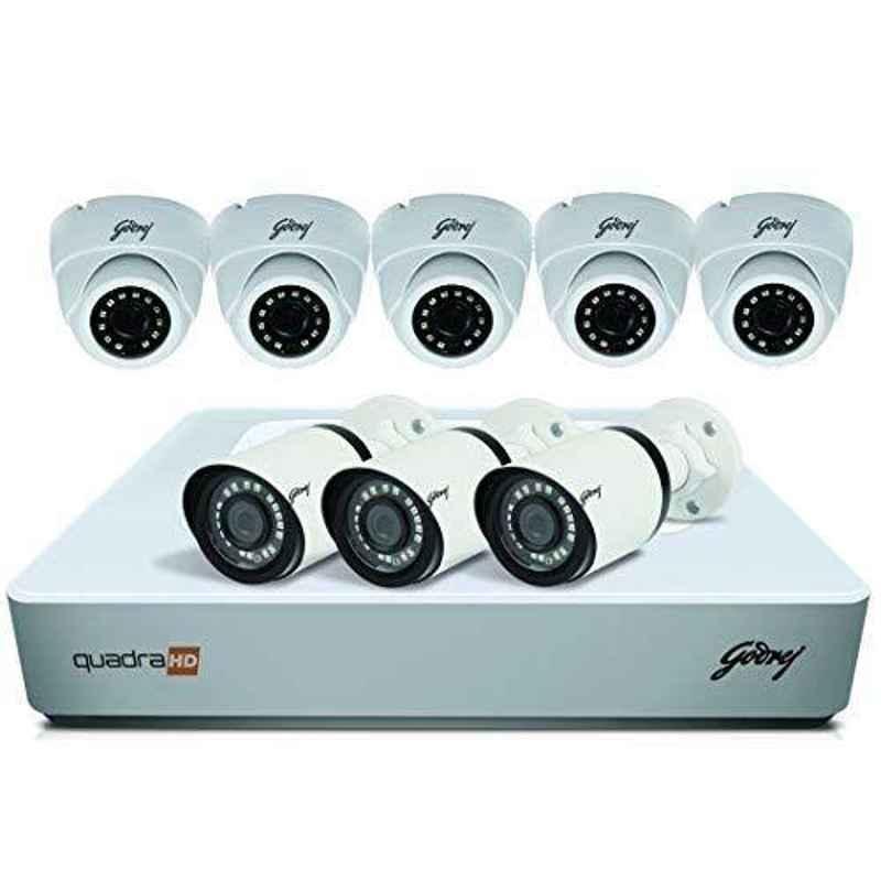 Godrej SeeThru 4 Channel Full HD CCTV Camera Kit without Hard Disk, 4MP8CH5D3B