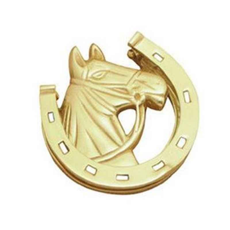 Smart Shophar 5 inch Brass Gold Horse Door Knocker, SHA10DK-HORS-GL05-P1