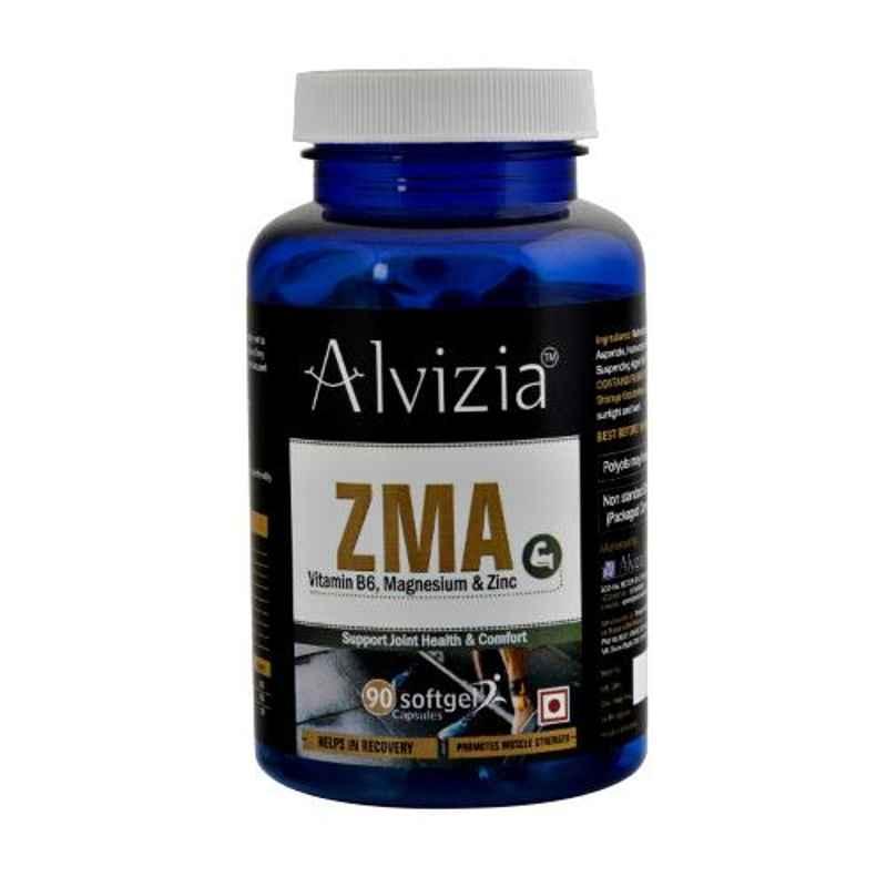 Alvizia 90 Pcs Softgel Capsules ZMA-Zinc Magnesium Vitamin B6 Supplement Bottle