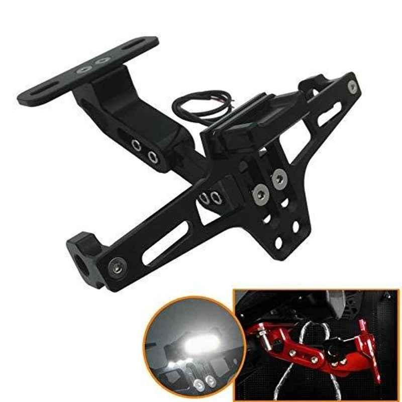 RA Accessories CNC Adjustable Tail Tidy with Number Plate Holder with LED for Yamaha R15 V3 (Black)
