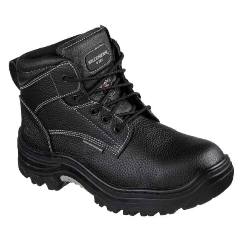 Skechers 77143 Leather Steel Toe Black Safety Boots, Size: 10