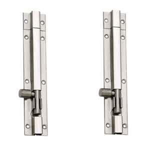Smart Shophar 10 inch Stainless Steel Silver Plain Tower Bolt, SHA40TW-PLAN-SL10-P2 (Pack of 2)