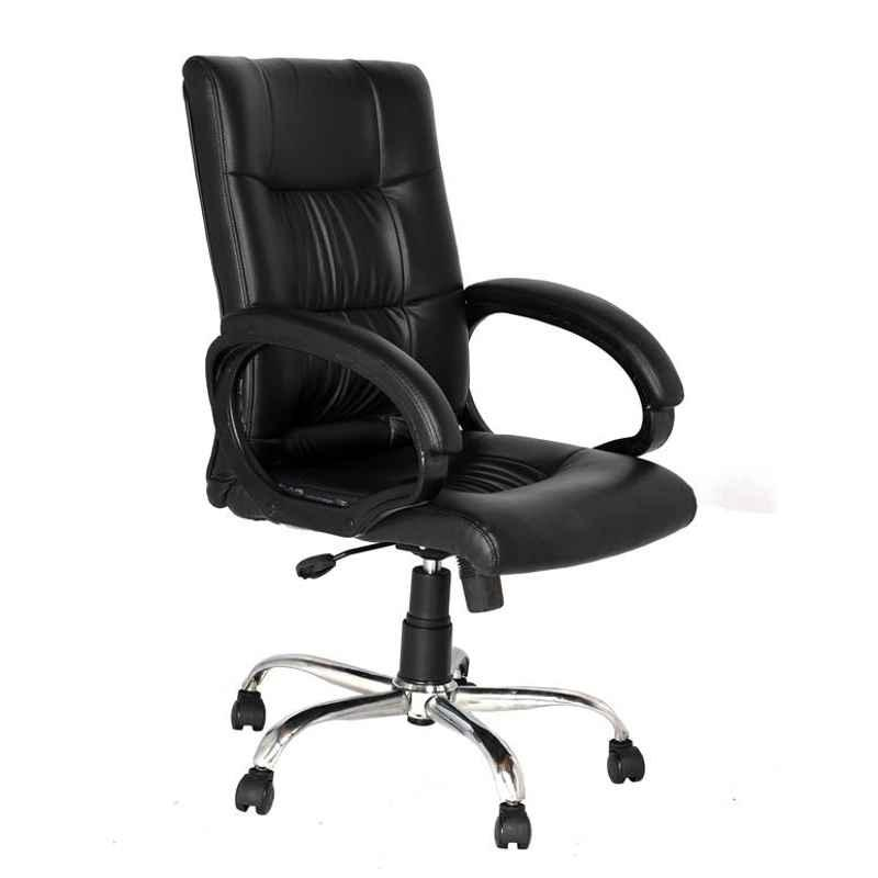 High Living Remus Leatherette Medium Back Black Office Chair