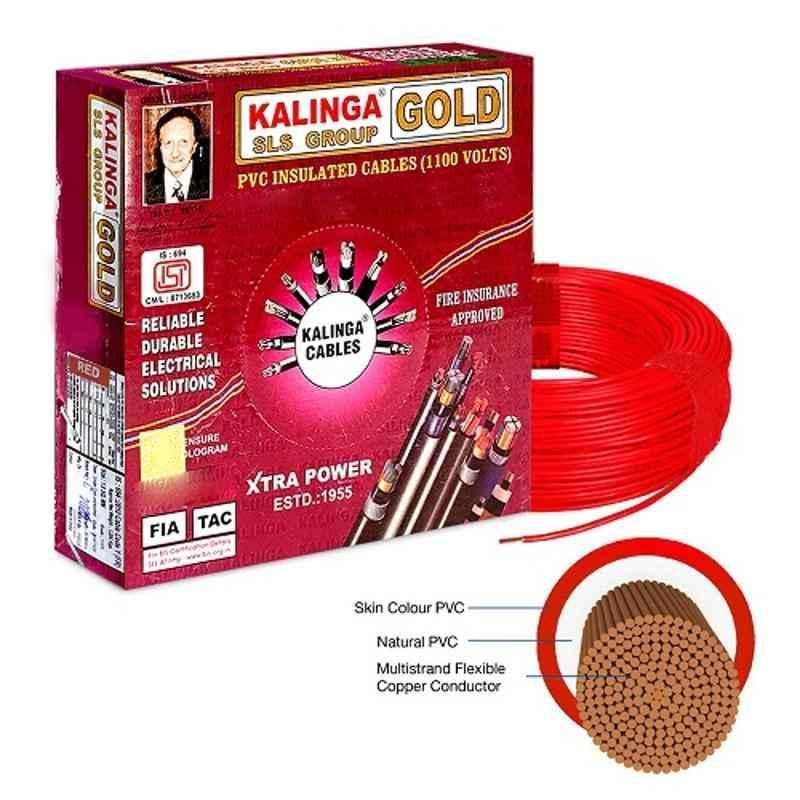 Kalinga Gold 1.5 Sq mm Red FR PVC Housing Wire, Length: 90 m