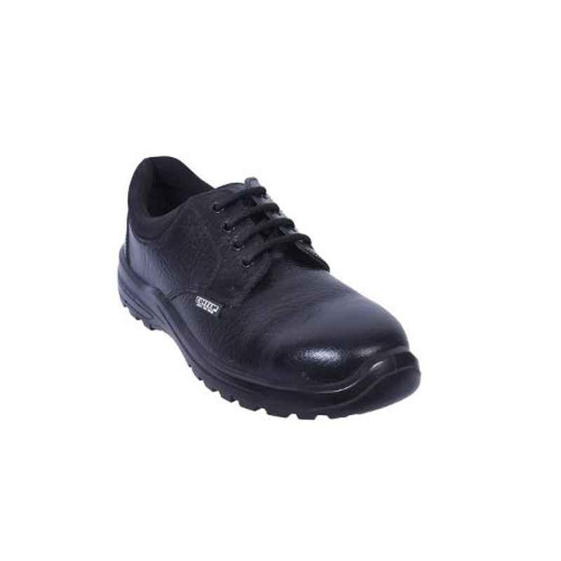 Coffer Safety CS-1046B Leather Steel Toe Black Safety Shoes, Size: 6