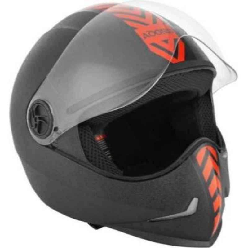 Steelbird Adonis Dashing Black Motorbike Full Face Helmet with Red Sticker, Size (Large, 580 mm)