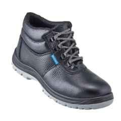 NEOSafe Helix A7025 High Ankle Steel Toe Black Leather Safety Shoes, Size: 5