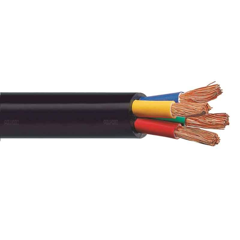 Polycab 4 Sqmm 4 Core FRLS Black Copper Sheathed Flexible Cable, Length: 100 m