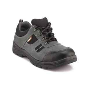 Everest EVE-602 Low Ankle Leather Steel Toe Single Density Black Safety Shoes, Size: 7