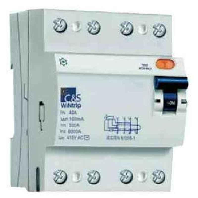 C&S 40 A 4 Pole 30 mA WiNtrip Residual Current Circuit Breaker CSRB4P40A30