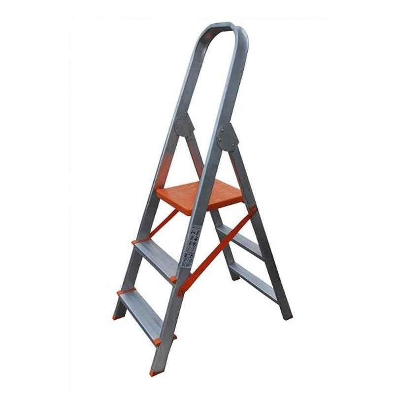 Aguerri Eco 3 Step Orange Silver Coated Aluminium Foldable Ladder with Platform, 4039