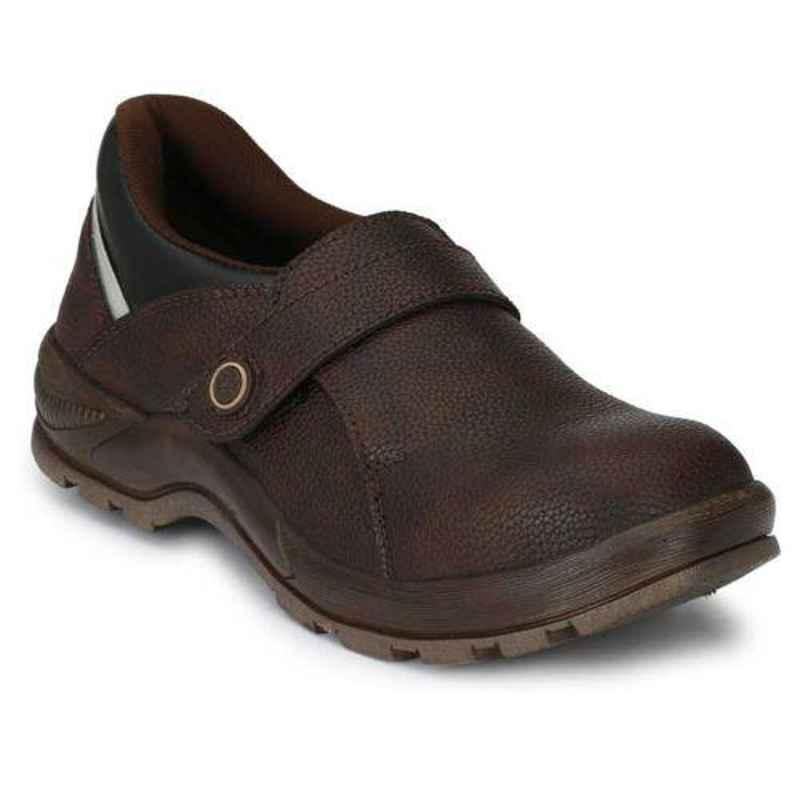 Wonker 6297 Leather Steel Toe Brown Safety Boots, Size: 10