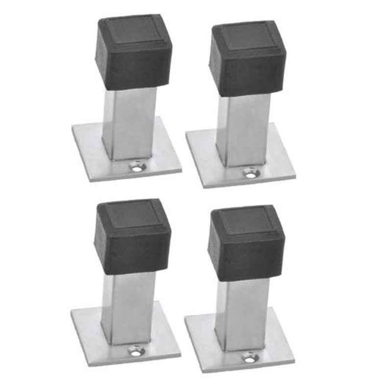 Nixnine Stainless Steel Back Silencer Door Stopper with Square Rubber Pad, SS_SQR_A-617_4PS (Pack of 4)