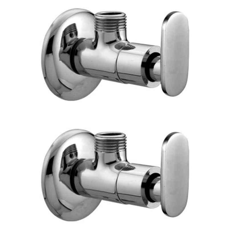 Joyway Solo Brass Chrome Finish Silver Angle Valve Stop Cock (Pack of 2)
