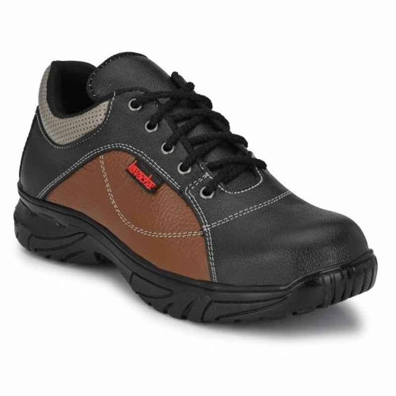 Kavacha S71 Leather Steel Toe Tan & Black Safety Shoes, Size: 8