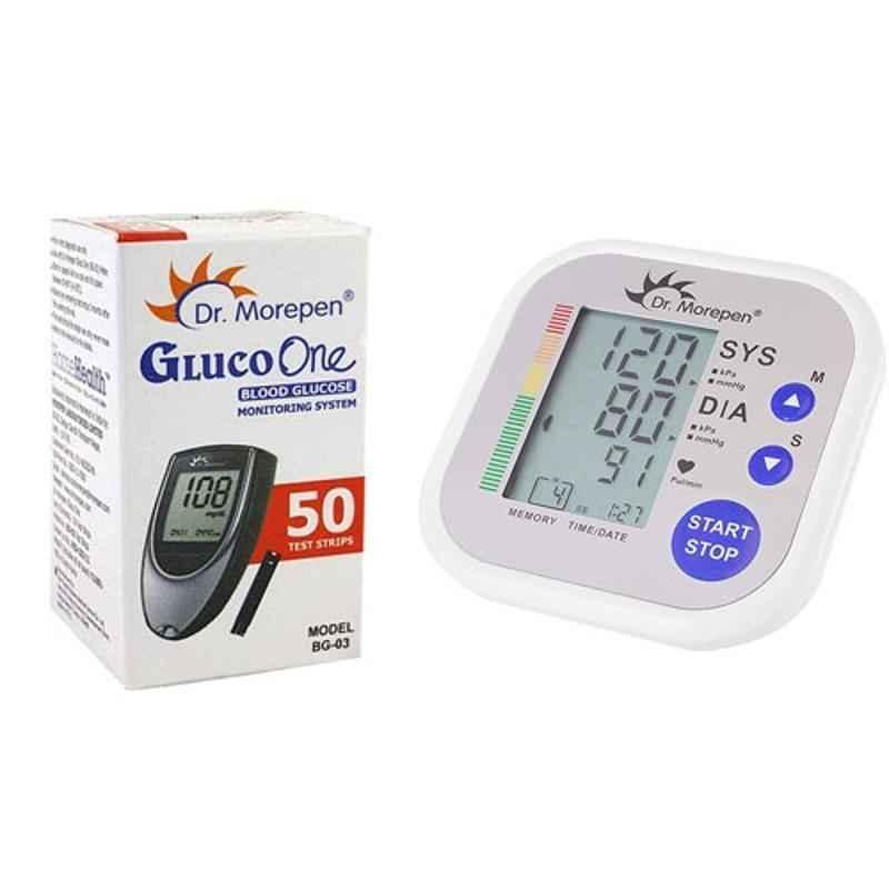 Dr. Morepen BP-02 Blood Pressure Monitor & BG-03 Gluco One 50 Test Strips Combo