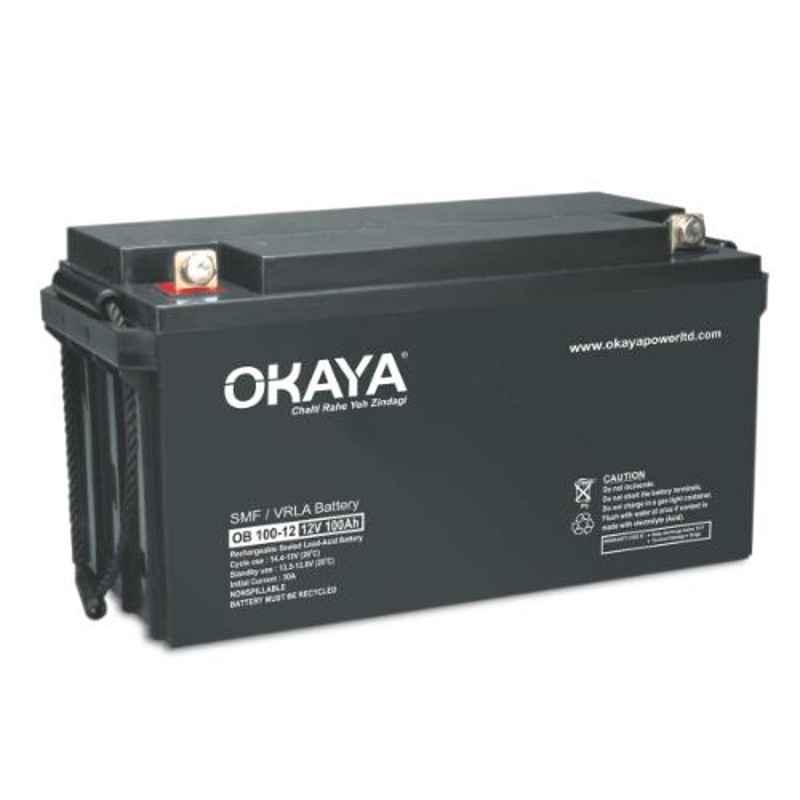 Okaya 12V 100Ah Rechargeable SMF or VRLA Battery, OB-100-12