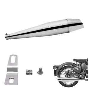 AllExtreme EX086 Chrome Dolphin Bike Exhaust Silencer with Glasswool