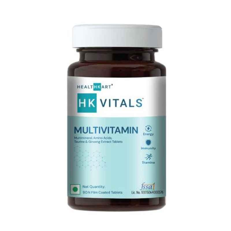 HealthKart Multivitamin with Ginseng Extract, Taurine & Multiminerals, 90 Veg Tablets, HNUT7341-02
