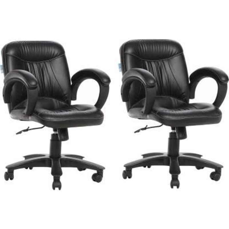 Mezonite KI 217 Black Medium Back Leatherette Office Chair (Pack of 2)