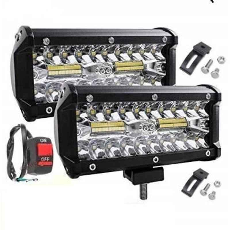 JBRIDERZ Car 36 Led 120W Heavy Duty Cree Fog Lamp 2 Pcs Set With Switch For Maruti Wagon R 2Nd Gen 1.0L Lxi Cng