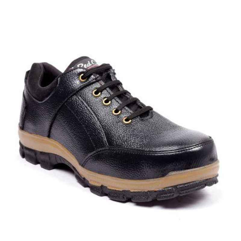 RED CAN SGE1169BLK Leather Low Ankle Steel Toe Black Safety Shoes, Size: 8