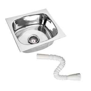 Renvox 18x16x9cm Stainless Steel Glossy Finish Kitchen Sink with Pipe