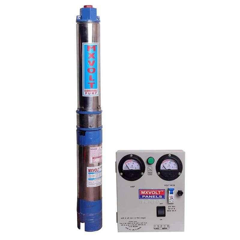 MXVOLT 1HP 4 inch Oil Filled Submersible Pump with Control Panel, Total Head: 160 ft