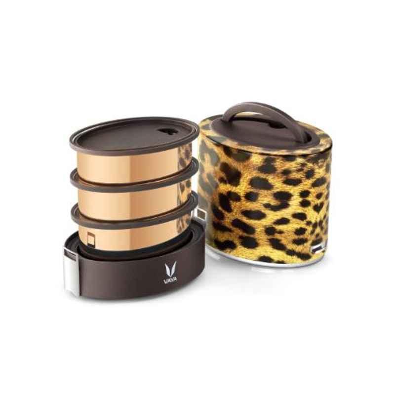 Vaya Tyffyn Cheetah 1000ml Stainless Steel Lunch Box