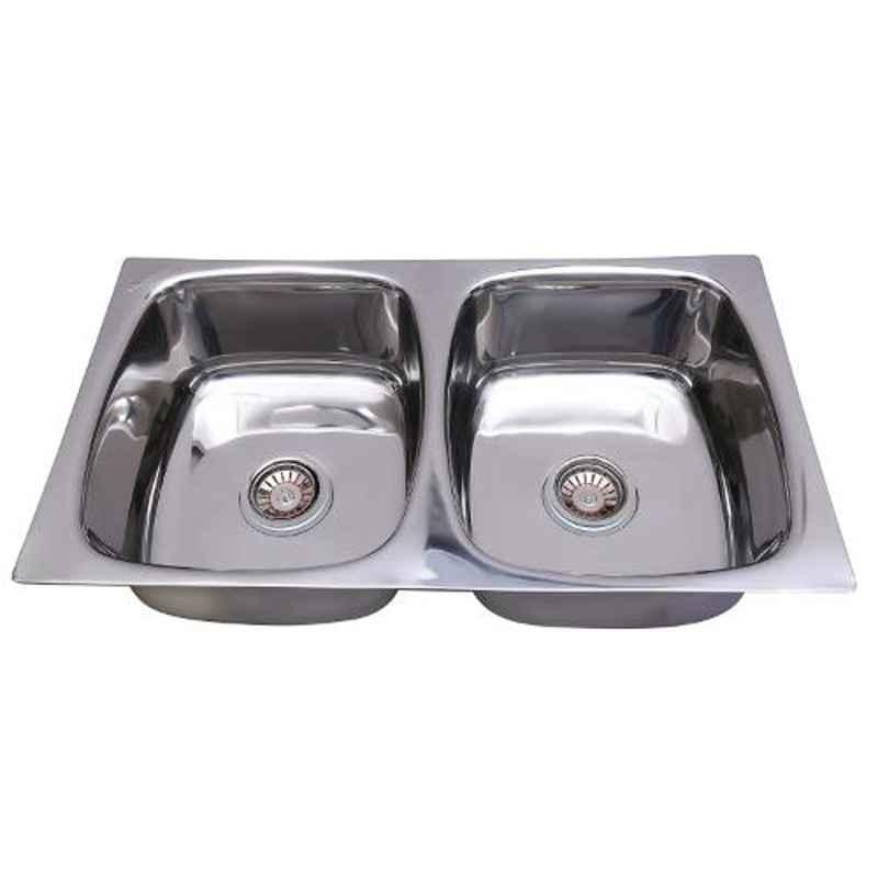 Crocodile 32x18x8 inch Double Bowl Stainless Steel Kitchen Sink, CR-11