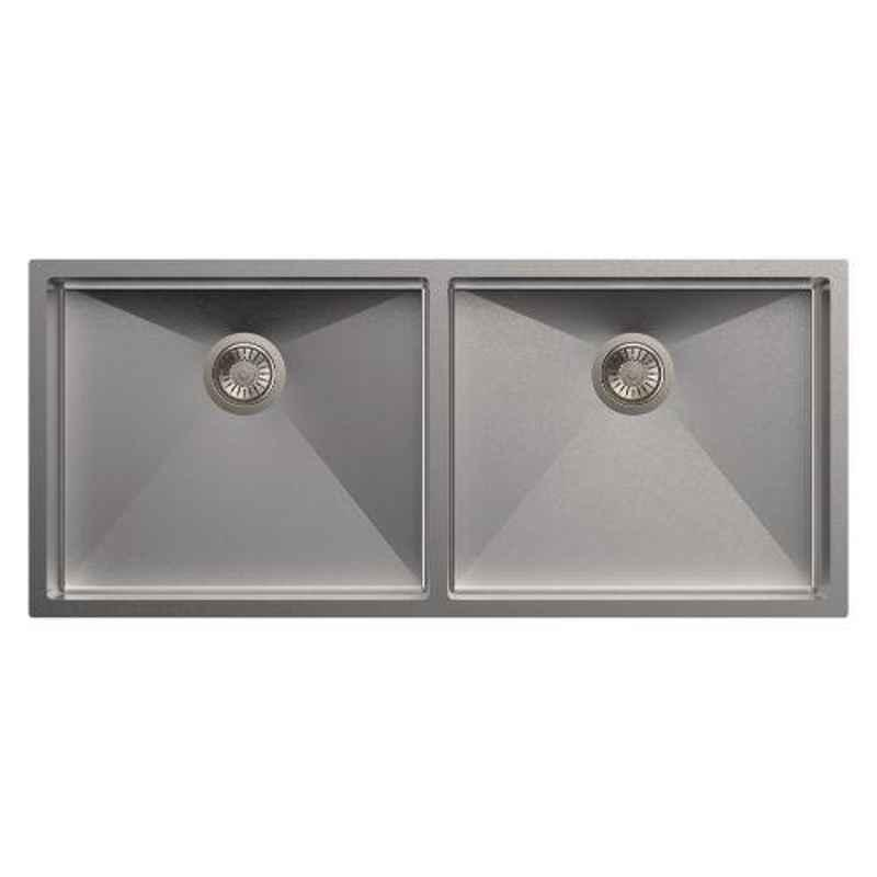 Carysil Quadro Double Bowl Stainless Steel Matt Finish Kitchen Sink, Size: 45x20x9 inch