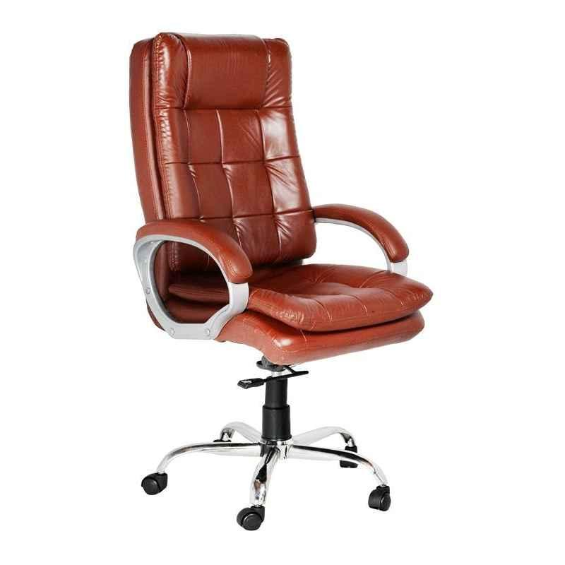 High Living Athena Leatherette High Back Brown Office Chair