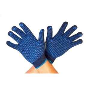 Khushi Blue Cotton PVC Dotted Full Fingered Hand Gloves