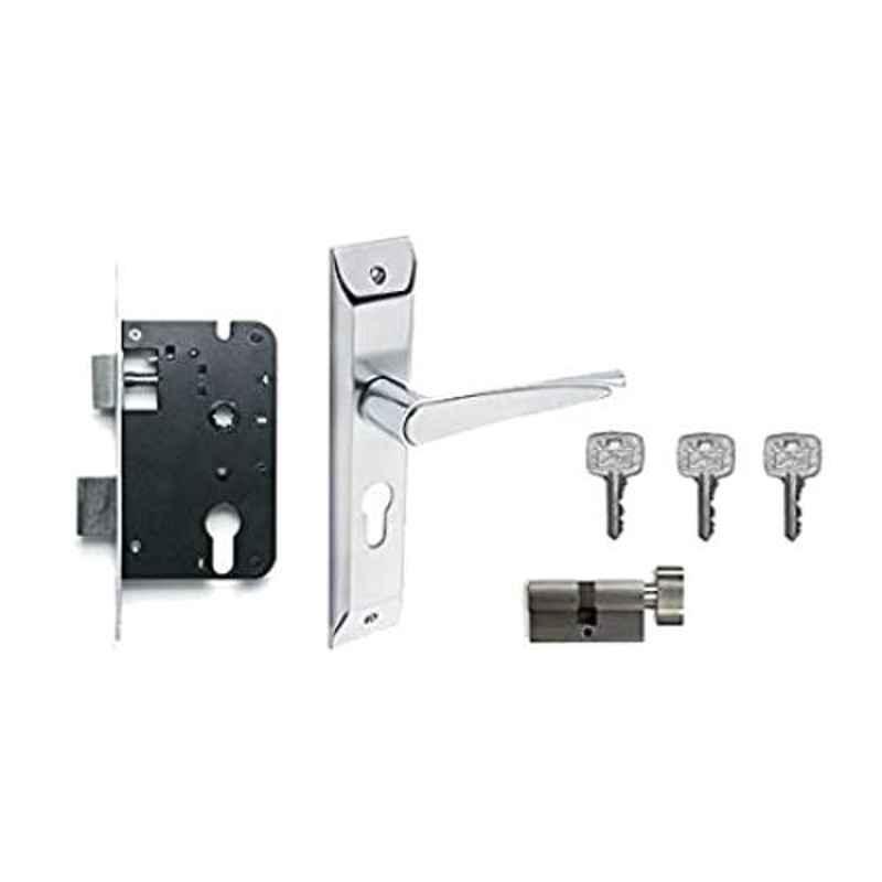 Godrej Satin Steel Zinc Alloy Door Handle Set with Lock Body & Cylinder Set