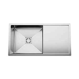 Crocodile 37x18x10 inch Stainless Steel Square Diamond Cut Single Bowl Kitchen Sink with Drainboard